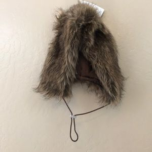 Furry winter brown fur beanie hat with ears